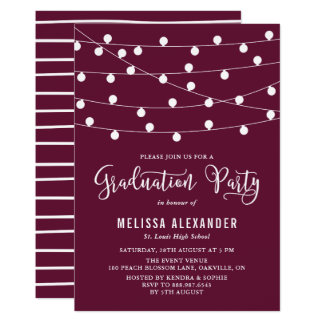 Whimsical String Lights Purple Graduation Party Card