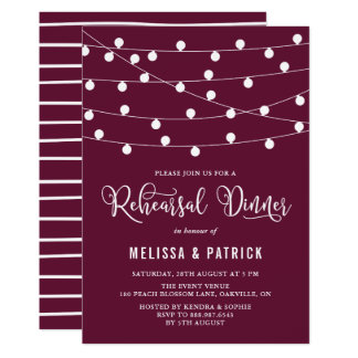 Whimsical String Lights Purple Rehearsal Dinner Card