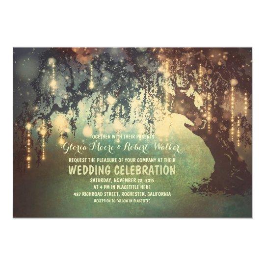 whimsical string lights tree wedding invitations Zazzle