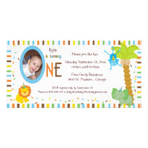 Whimsical Stripes And Animals First Birthday Card
