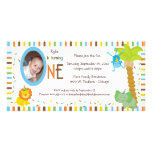 Whimsical Stripes And Animals First Birthday Photo Card