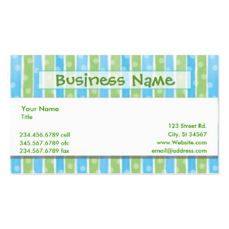 Whimsical Stripes business card blue green