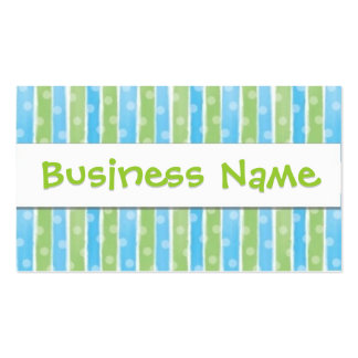 Whimsical Stripes business card blue green 2