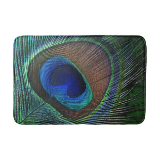 Whimsical Stylish Pretty Peacock Feather Pattern Bathroom Mat