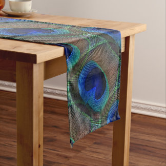 Whimsical Stylish Pretty Peacock Feather Pattern Medium Table Runner
