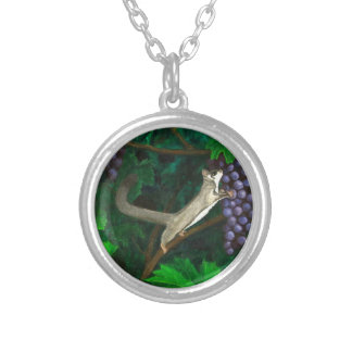 Whimsical Sugar Glider in Grape Vines Silver Plated Necklace