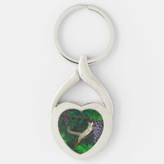 Whimsical Sugar Glider with Purple Grapes Silver-Colored Heart-Shaped Metal Keychain
