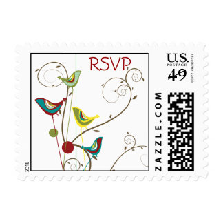 Whimsical Summer Bird and Swirls RSVP Stamps