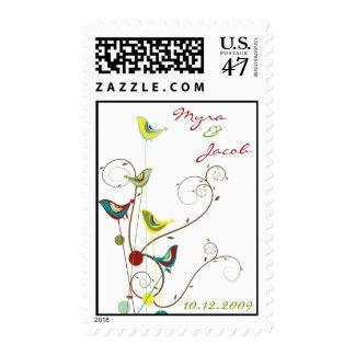 Whimsical Summer Bird and Swirls Wedding Stamps