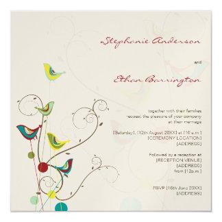 Whimsical Summer Birds And Swirls Wedding Invite