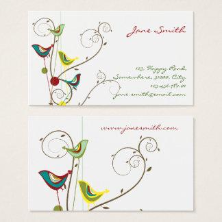 Whimsical Summer Birds Swirls Modern Business Card