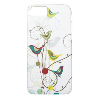 Whimsical Summer Birds Swirls Modern iPhone Case