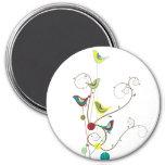 Whimsical Summer Birds Swirls Modern Nature Vines 3 Inch Round Magnet