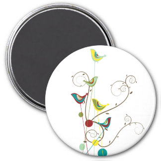 Whimsical Summer Birds Swirls Modern Nature Vines 3 Inch Round Magnet