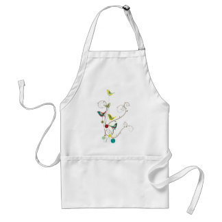 Whimsical Summer Birds Swirls Modern Nature Vines Adult Apron