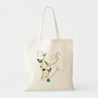 Whimsical Summer Birds Swirls Modern Nature Vines Budget Tote Bag