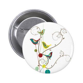 Whimsical Summer Birds Swirls Modern Nature Vines Button