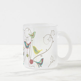 Whimsical Summer Birds Swirls Modern Nature Vines Frosted Glass Coffee Mug