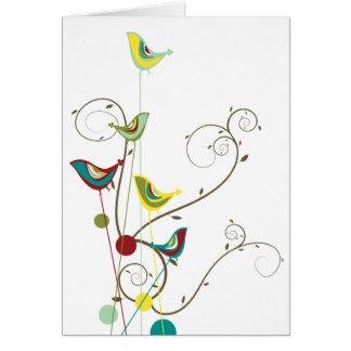 Whimsical Summer Birds Swirls Modern Nature Vines Greeting Card