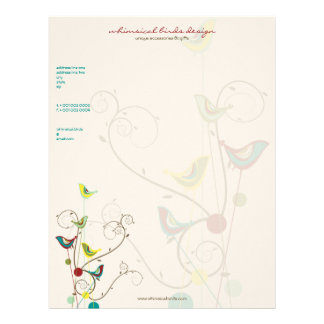 Whimsical Summer Birds Swirls Modern Nature Vines Letterhead