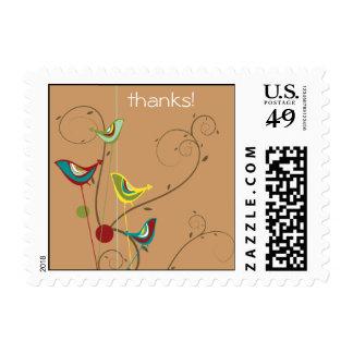 Whimsical Summer Birds Swirls Modern Nature Vines Postage Stamps