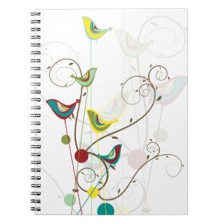 Whimsical Summer Birds Swirls Modern Nature Vines Spiral Note Book