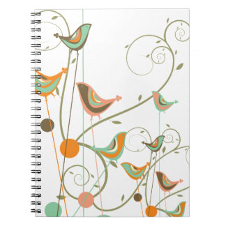 Whimsical Summer Birds Swirls Modern Nature Vines Spiral Notebook
