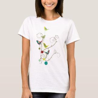 Whimsical Summer Birds Swirls Modern Nature Vines T-Shirt
