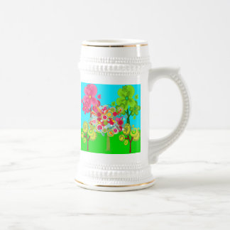 Whimsical Summer Lollipop Tree Colorful Forest Beer Stein