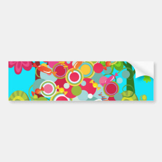 Whimsical Summer Lollipop Tree Colorful Forest Bumper Sticker