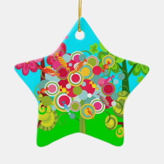 Whimsical Summer Lollipop Tree Colorful Forest Ceramic Ornament