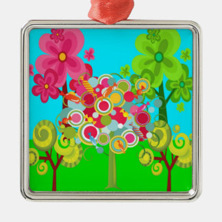 Whimsical Summer Lollipop Tree Colorful Forest Metal Ornament
