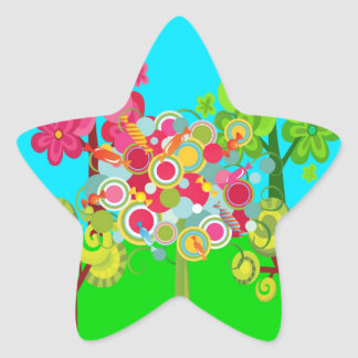 Whimsical Summer Lollipop Tree Colorful Forest Stickers