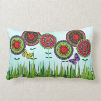 Whimsical Summer Meadow Flowers and Butterflies Throw Pillow