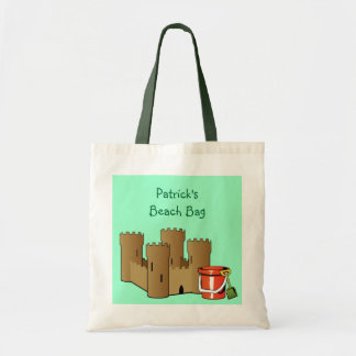 Whimsical Summer Sand Castle Beach Pail and Shovel Budget Tote Bag