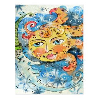 Whimsical Sun and Moon Design Postcard