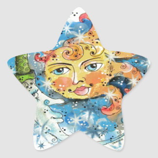Whimsical Sun and Moon Design Star Sticker