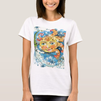Whimsical Sun and Moon Design T-Shirt