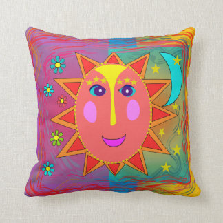 Whimsical Sun Moon and Stars Pillow
