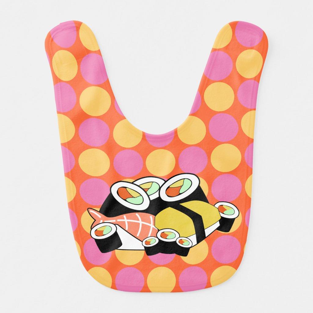 Sushi Polka Dots Baby Bib