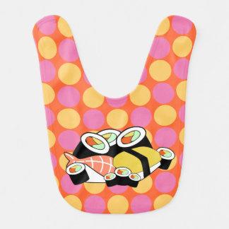 Whimsical Sushi Polka Dots Baby Bib
