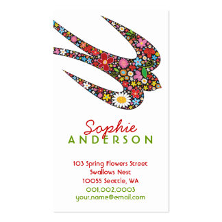 Whimsical Swallow Spring Flowers Business Card