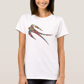 Whimsical Swallow Spring Flowers Custom T-shirt