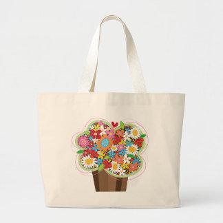 Whimsical Sweet Cupcake Spring Flowers Floral Chic Jumbo Tote Bag