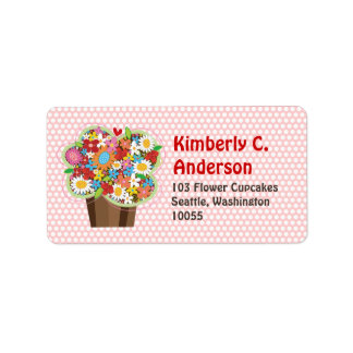 Whimsical Sweet Cupcake Spring Flowers Floral Chic Address Label