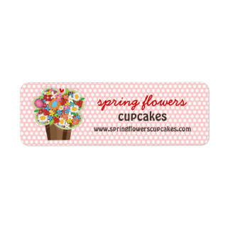 Whimsical Sweet Cupcake Spring Flowers Floral Chic Return Address Label