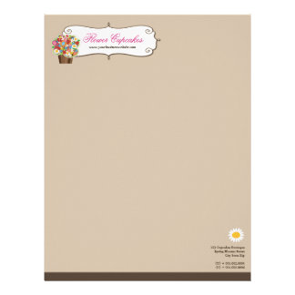 Whimsical Sweet Cupcake Spring Flowers Floral Chic Letterhead