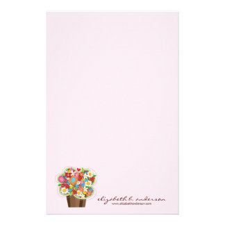 Whimsical Sweet Cupcake Spring Flowers Floral Chic Stationery