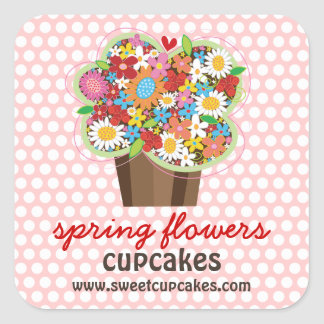 Whimsical Sweet Cupcake Spring Flowers Floral Chic Square Sticker