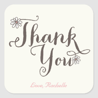 Whimsical Sweet Daisies Girl Birthday Thank You Square Sticker